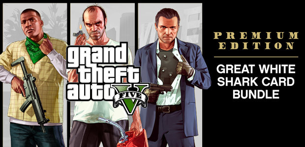 GRAND THEFT AUTO V: PREMIUM ONLINE EDITION & Great White Shark Card Bundle - Cover / Packshot