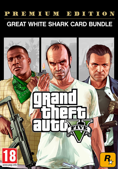 GRAND THEFT AUTO V: PREMIUM ONLINE EDITION & Great White Shark Card Bundle - Cover
