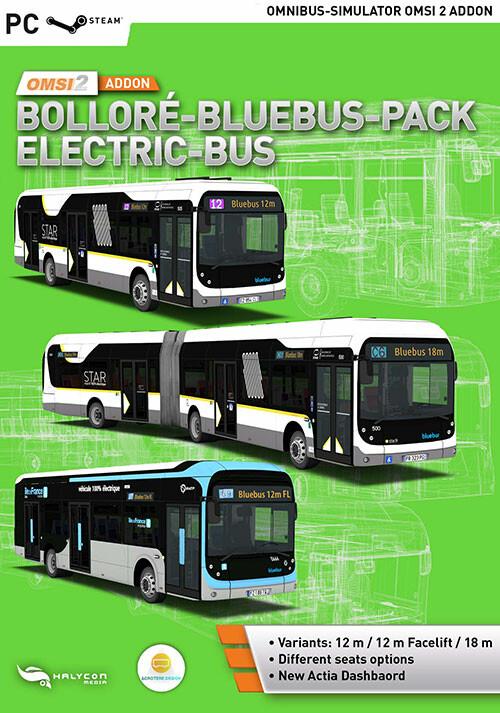 OMSI 2 Add-On Bolloré-Bluebus-Pack Elektro-Bus - Cover / Packshot