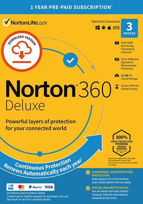 Norton 360 Deluxe | 3 Appareils | Abonnement d'1 An avec Renouvellement Automatique - Cover / Packshot