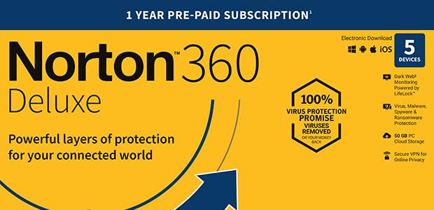 Norton 360 Deluxe   5 Geräte   1-Jahres-Abonnement mit automatischer Verlängerung - Cover / Packshot