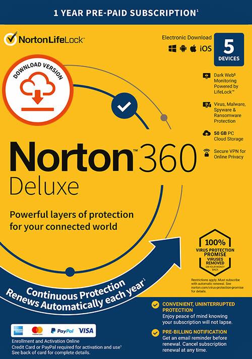 Norton 360 Deluxe | 5 Appareils | Abonnement d'1 An avec Renouvellement Automatique - Cover / Packshot