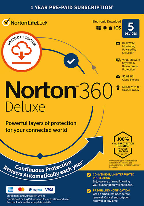 Norton 360 Deluxe | 5 Devices | 1 Year Subscription with Automatic Renewal - Cover / Packshot
