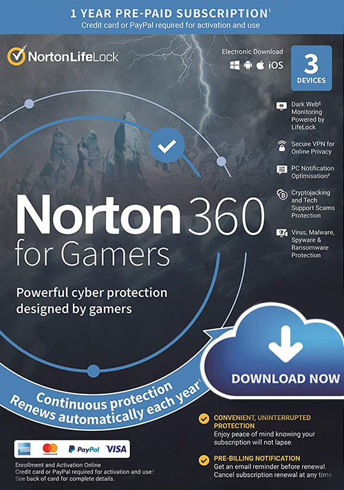 Norton 360 for Gamers | 3 Devices | 1 Year Subscription with Automatic Renewal - Cover / Packshot