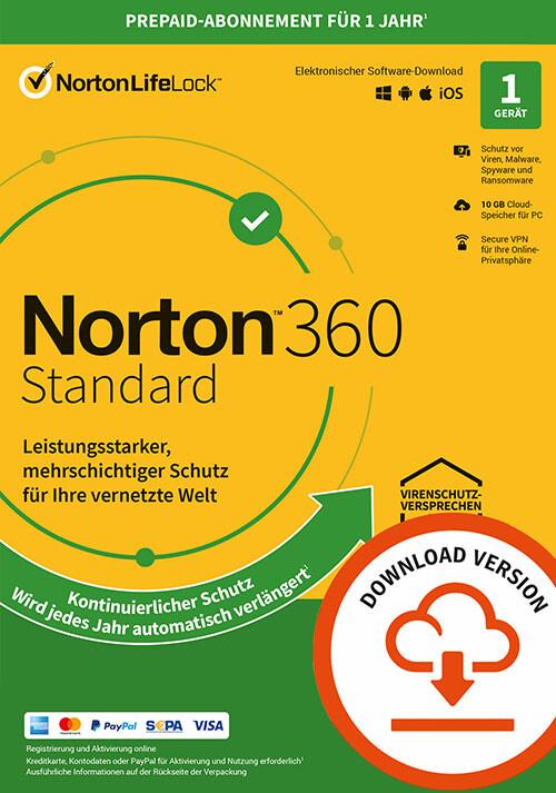 Norton 360 Standard | 1 Gerät | 1-Jahres-Abonnement mit automatischer Verlängerung - Cover / Packshot