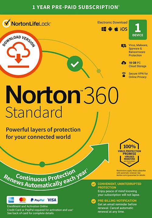 Norton 360 Standard | 1 Appareil | Abonnement d'1 An avec Renouvellement Automatique - Cover / Packshot