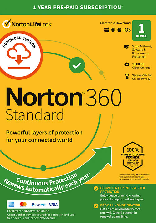 Norton 360 Standard | 1 Device | 1 Year Subscription with Automatic Renewal - Cover / Packshot