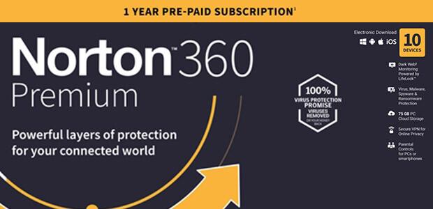 Norton 360 Premium   10 Geräte   1-Jahres-Abonnement mit automatischer Verlängerung - Cover / Packshot