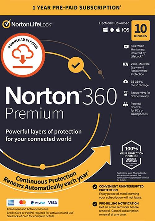 Norton 360 Premium | 10 Appareils | Abonnement d'1 An avec Renouvellement Automatique - Cover / Packshot