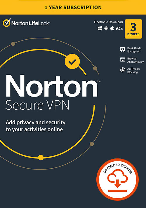 Norton Secure VPN | 3 Appareils | Abonnement d'1 An avec Renouvellement Automatique - Cover / Packshot