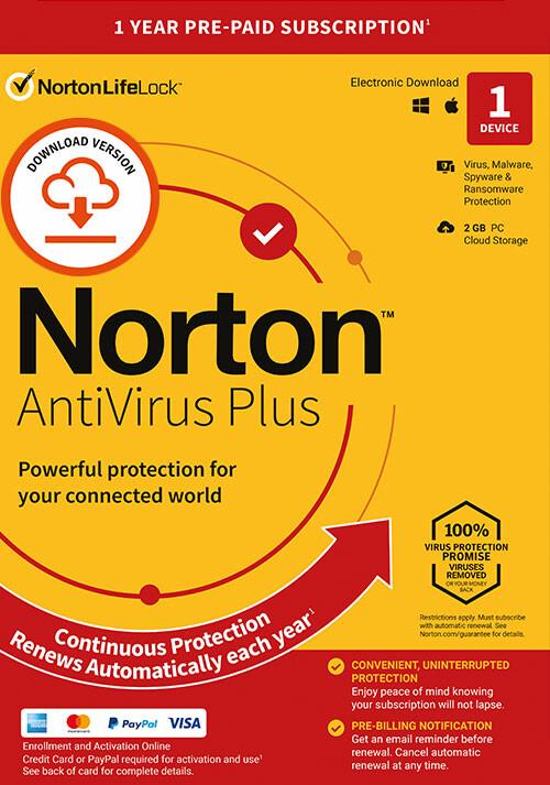 Norton AntiVirus Plus | 1 Appareil | Abonnement d'1 An avec Renouvellement Automatique - Cover / Packshot